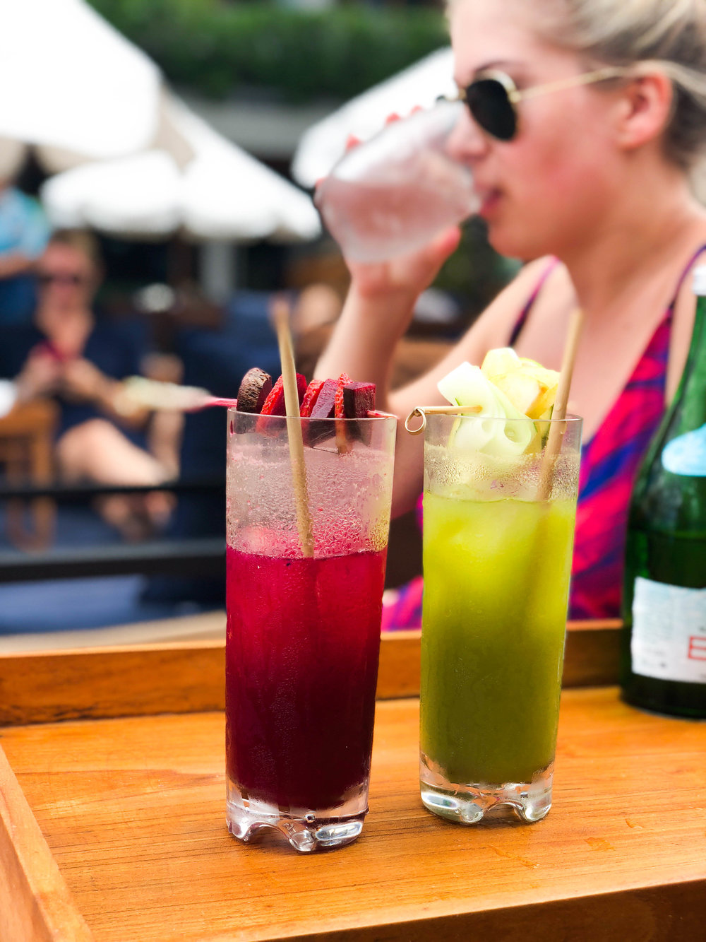 Fresh beet and green goddess mocktails at Potato Head Beach Club
