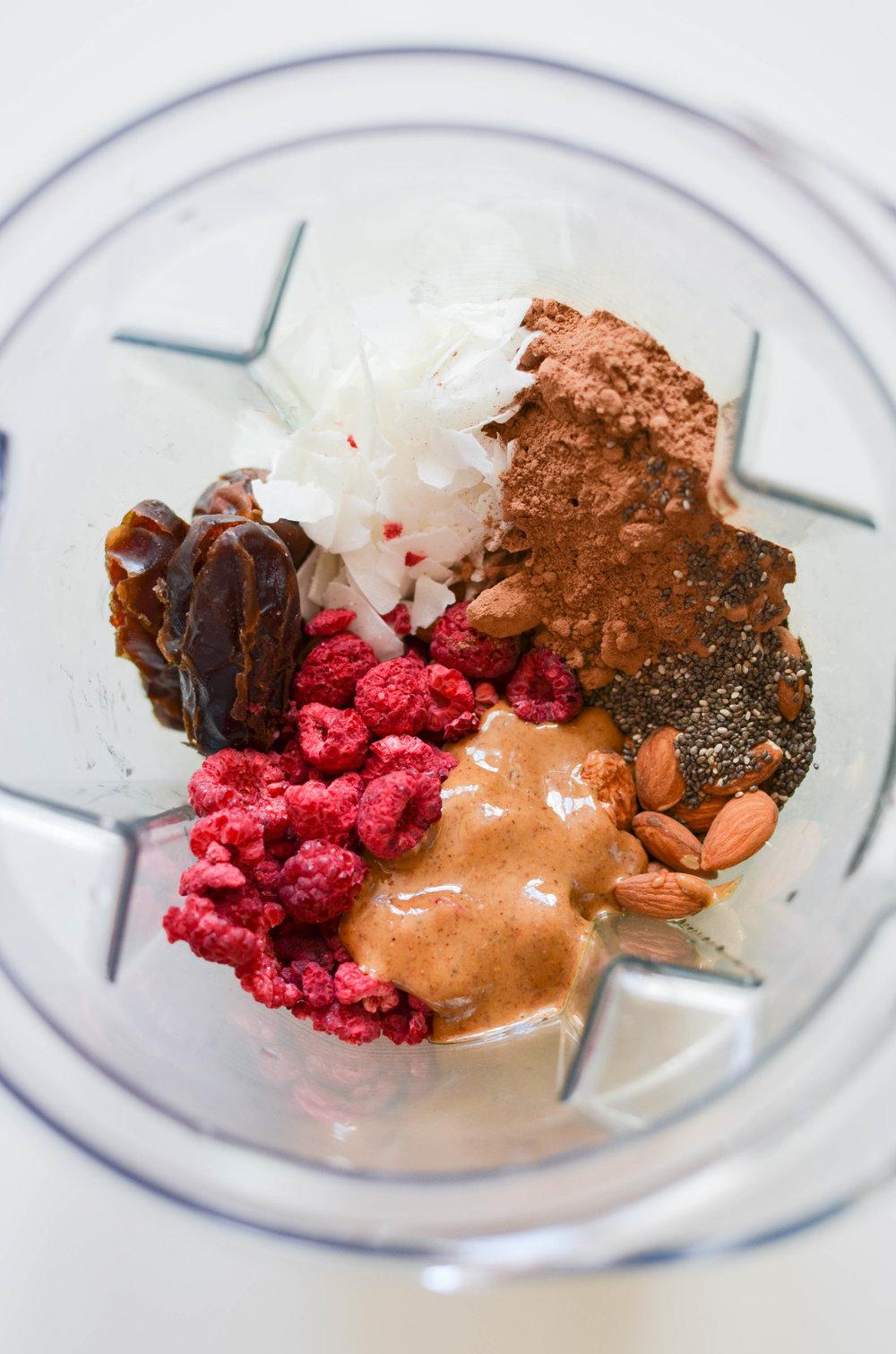Raspberry Cocoa Energy Bites