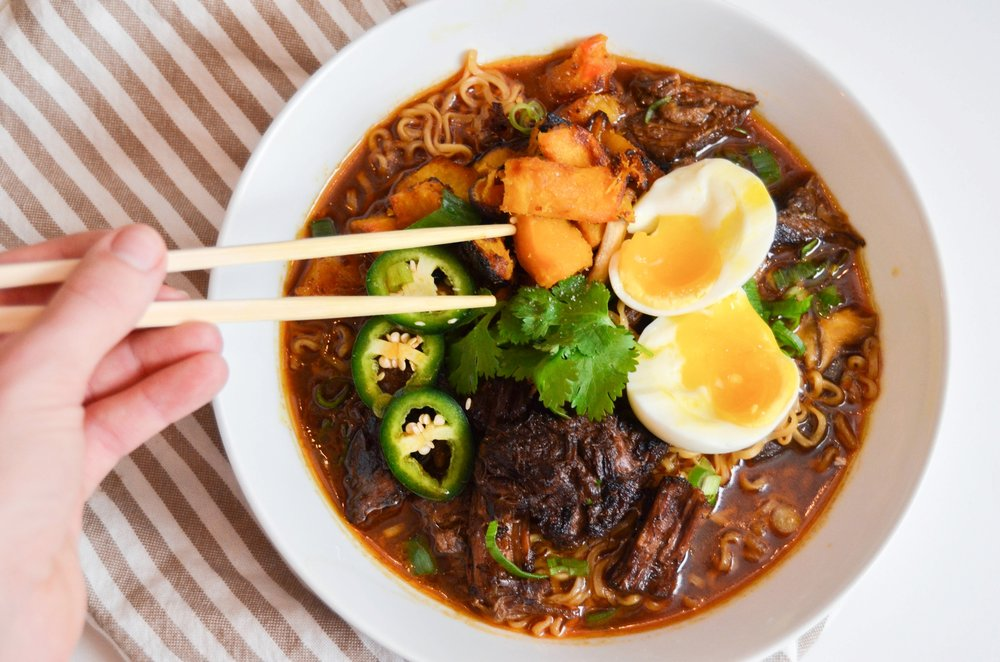 Caramelized Beef Ramen with Roasted Miso Squash