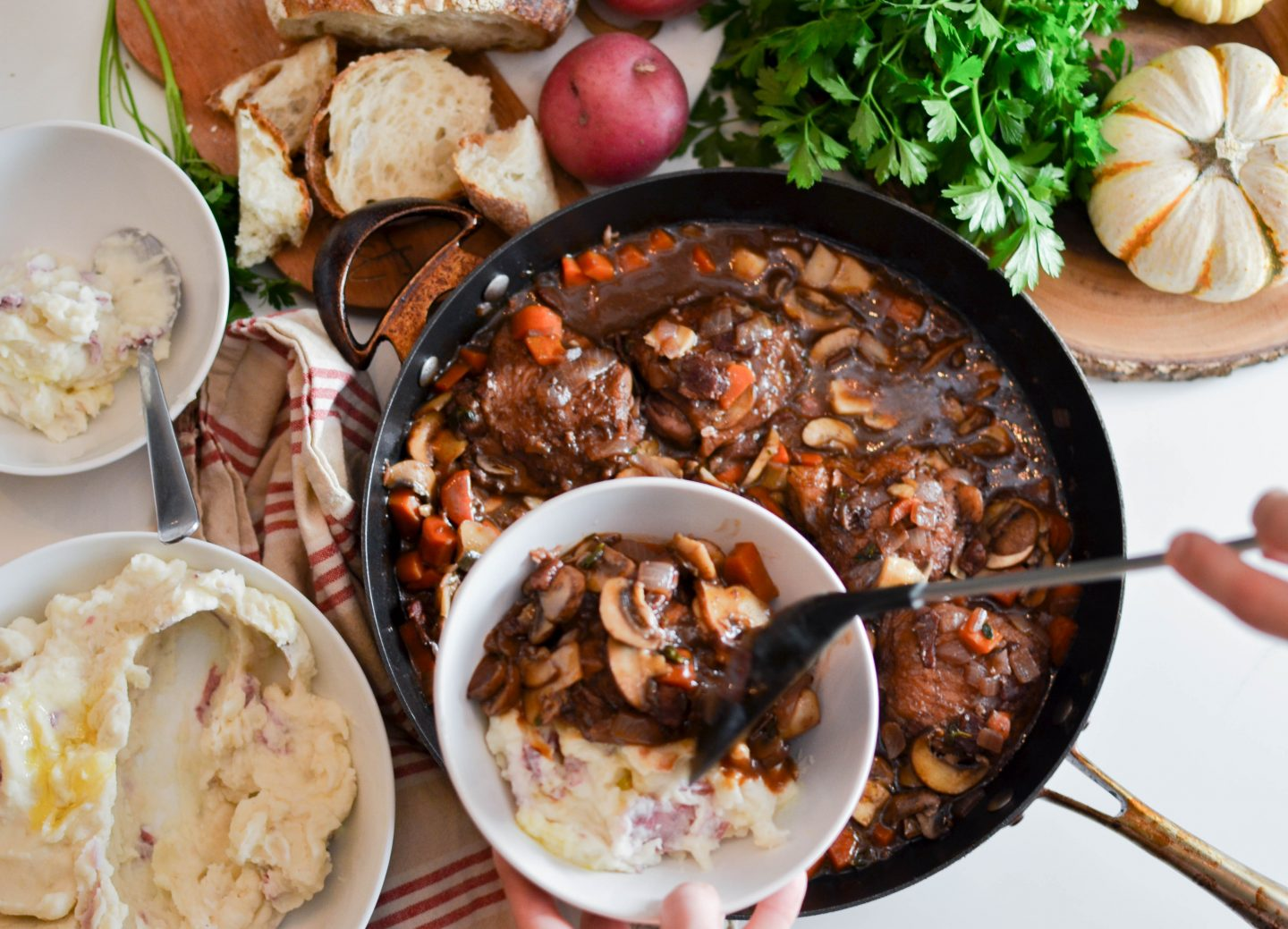 Coq Au Vin with Red Mashed Potatoes