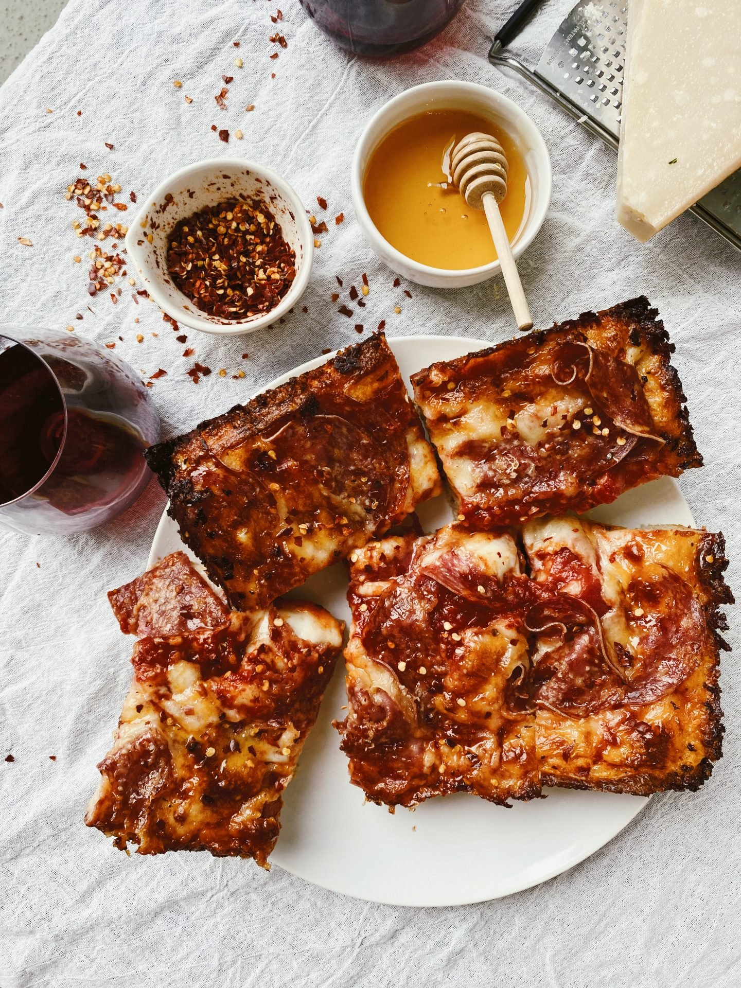 Detroit-Style Spicy Salami Pizza with Honey